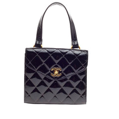 Chanel Vintage Box Flap Bag Quilted Patent Small