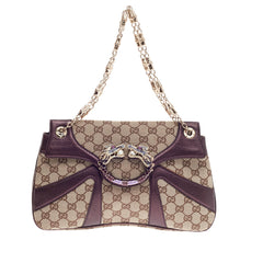 Gucci Jeweled Dragon Bag GG Canvas with Leather Trim