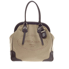 Prada Canapa Frame Shoulder Bag Canvas Large