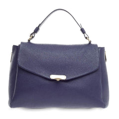 Versace Convertible Top Handle Bag Pebbled Leather