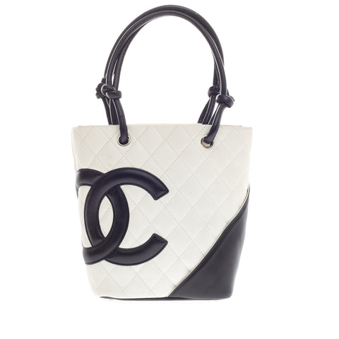 052260fe986be4 Buy Chanel Cambon Tote Quilted Leather Petite White 280302 – Rebag