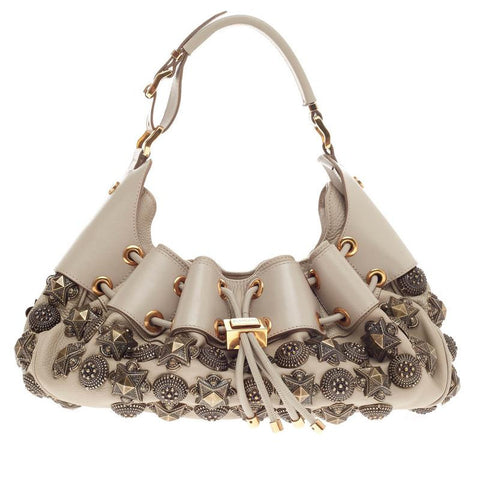 Buy Burberry Mason Warrior Hobo Studded Leather Medium Taupe 291301 – Rebag 84cdc2e97fe0b