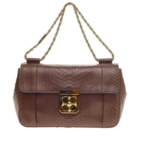 c6a05c7aae2 Buy Chloe Elsie Chain Shoulder Bag Python Medium Brown 294001 – Rebag