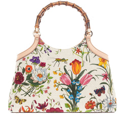 Gucci Bamboo Top Handle Flora Canvas Medium