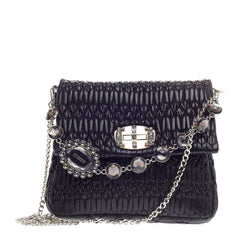 Miu Miu Crystal Chain Shoulder Bag Matelasse Leather Large