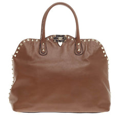 Valentino Rockstud Convertible Dome Satchel Leather None