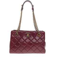 Chanel CC Crown Tote Quilted Leather Small