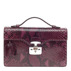Gucci Lady Lock Briefcase Clutch Python -