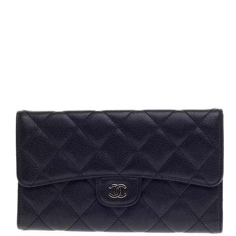 3166d829e3ebe1 Buy Chanel L Flap Wallet Quilted Caviar Black 322601 – Rebag