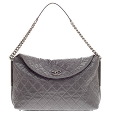 Chanel Aged Chain CC Flap Hobo Quilted Lambskin Large