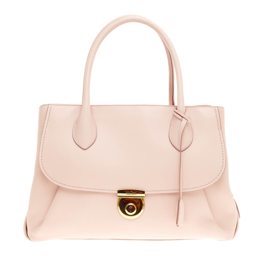 c9225219f89d Buy Salvatore Ferragamo Fiamma Tote Leather East West Pink 334701 – Rebag