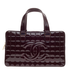 Chanel Chocolate Bar CC Bowler Patent Large