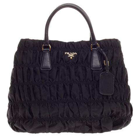 ed82c3b9c268 Buy Prada Gaufre Convertible Tote Tessuto Medium Black 346701 – Rebag