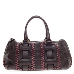 Bottega Veneta Accordion Satchel Leather and Snakeskin -