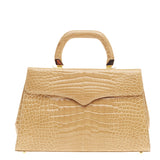 Lana Marks Convertible Top Handle Flap Bag Crocodile