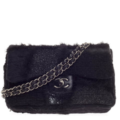 Chanel Classic Flap Patchwork Tweed and Fur Jumbo