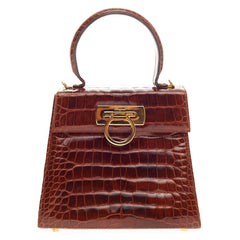 Salvatore Ferragamo Convertible Top Handle Crocodile Small