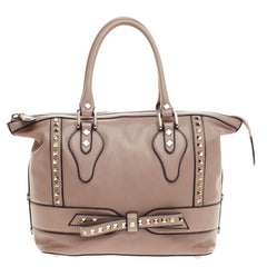Valentino Rockstud Bow Satchel Leather