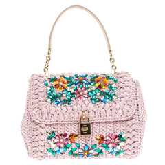 Dolce & Gabbana Miss Bonita Satchel Embellished Woven Straw Medium