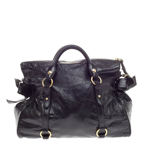 395e9fc05d9d Buy Miu Miu Bow Satchel Vitello Lux Black 395001 – Rebag