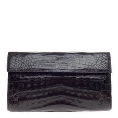 Nancy Gonzalez Flap Clutch Crocodile Small