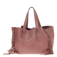 Valentino C-Rockee Fringe Tote Leather Large