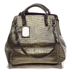 Dolce & Gabbana Miss Pocket Foldover Bag Embossed Crocodile Large