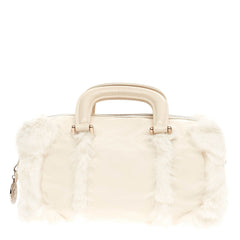 Fendi Convertible Zip Satchel Leather and Fur Medium