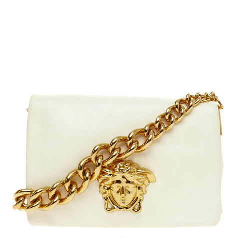 0f9477906d Buy Versace Palazzo Flap Bag Leather Small White 444702 – Rebag