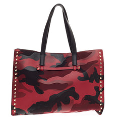 Valentino Rockstud Open Tote Camo Leather and Canvas Medium