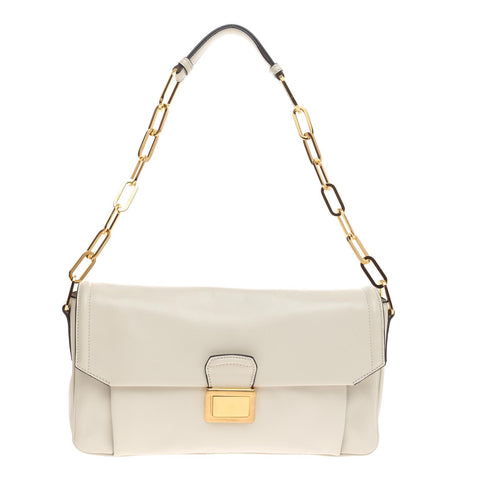 Buy Miu Miu Chain Pushlock Shoulder Bag Vitello Soft White 460302 – Rebag 49a771b3e6390