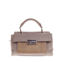Michael Kors Collection Quinn Top-Handle Satchel Leather and Python Small