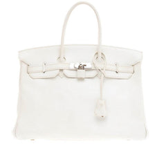 Hermes Birkin White Clemence with Palladium Hardware 35
