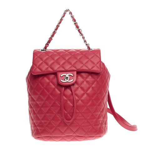 6b556116a598 Buy Chanel Urban Spirit Backpack Quilted Lambskin Red 585002 – Rebag