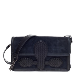 Bottega Veneta Rialto Shoulder Bag Suede with Intrecciato Nappa Micro