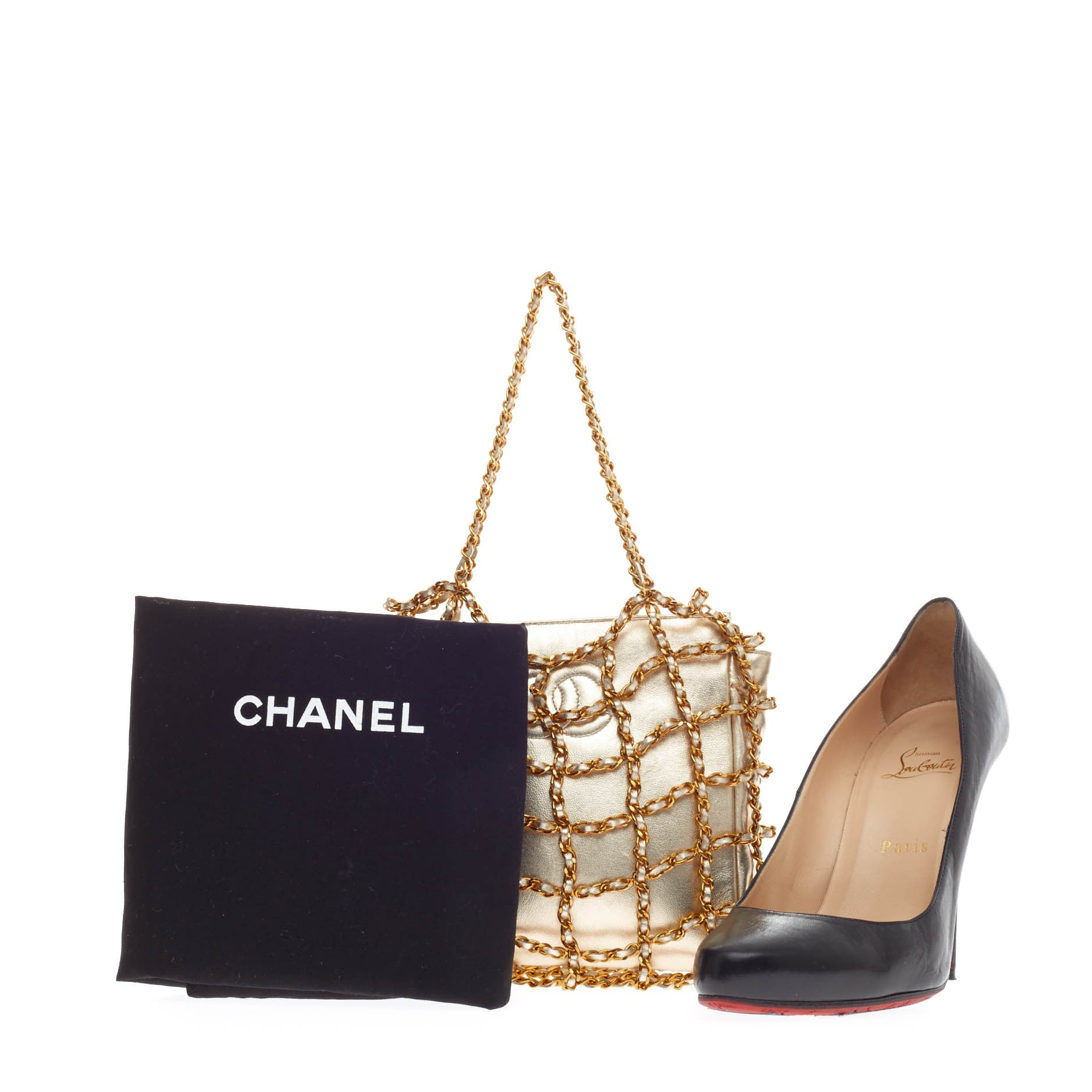 buy chanel chained evening bag satin silver 111506 trendlee