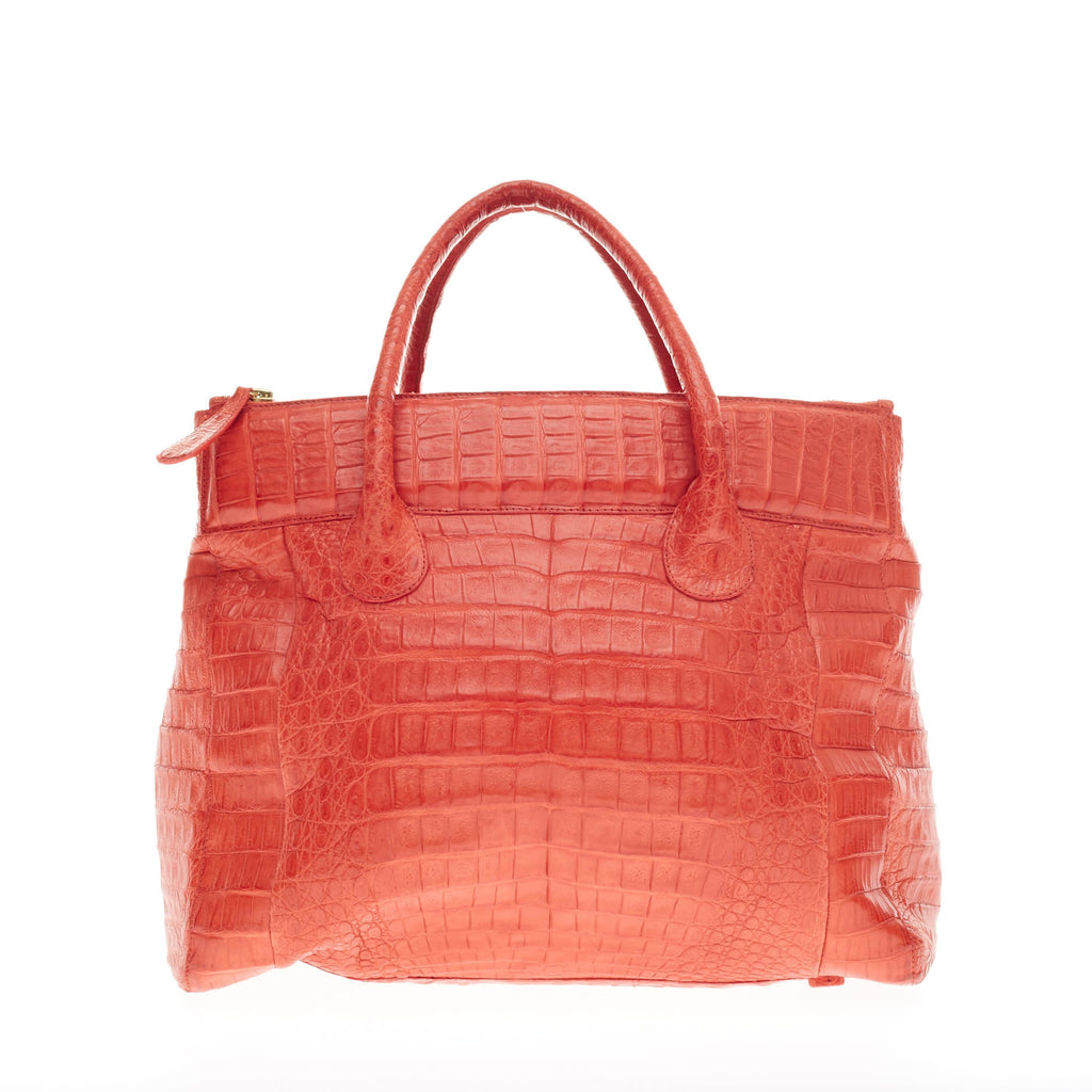 Buy nancy gonzalez double zip tote crocodile coral 149801 for Nancy gonzalez crocodile tote