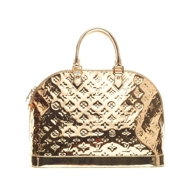 Buy louis vuitton alma handbag miroir pvc mm gold 168107 for Louis vuitton silver alma miroir