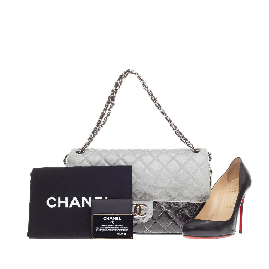 05f3673c2c2e1c Buy Chanel Melrose Degrade Flap Bag Quilted Patent Jumbo Gray 181301 ...