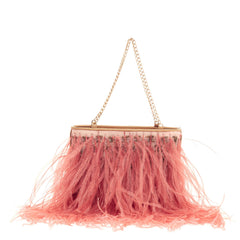Chanel Chain Strap Pochette Ostrich Feather -