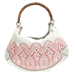 Gucci Peggy Bamboo Handle Hobo Embroidered Canvas -