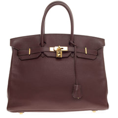 Hermes Birkin Brown Clemence with Gold Hardware 35