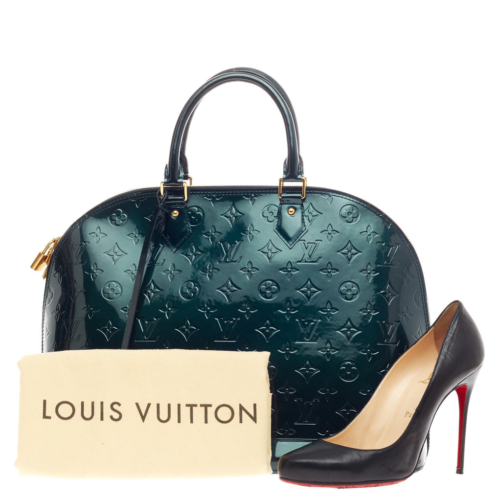 a6adcdf28351 Buy Louis Vuitton Alma Handbag Monogram Vernis GM Green 399301 – Rebag