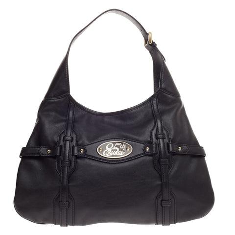 f6cf1015c45c Buy Gucci Limited Edition 85th Anniversary Hobo Leather Black 466102 – Rebag