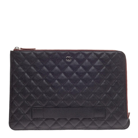b323e03705f2 Buy Chanel Ipad Pouch Quilted Caviar Large Black 470101 – Rebag
