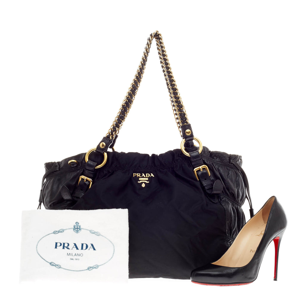 74d8b0a5cd Buy Prada Pleated Chain Frame Bag Nylon Tessuto with Leather 88901 ...