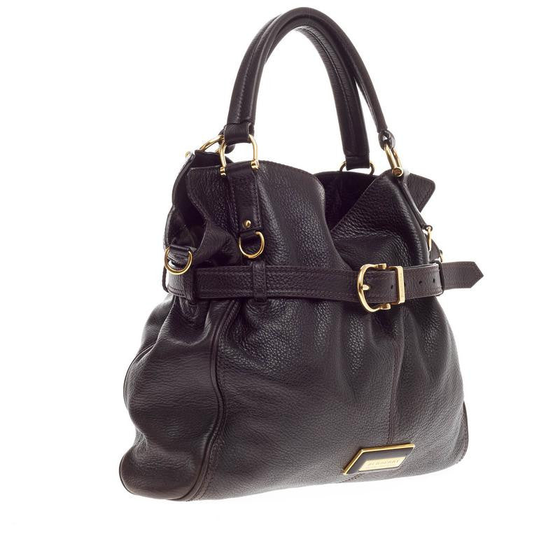 132ea7ac0d85 Buy Burberry Convertible Belted Tote Leather Black 287801 – Rebag