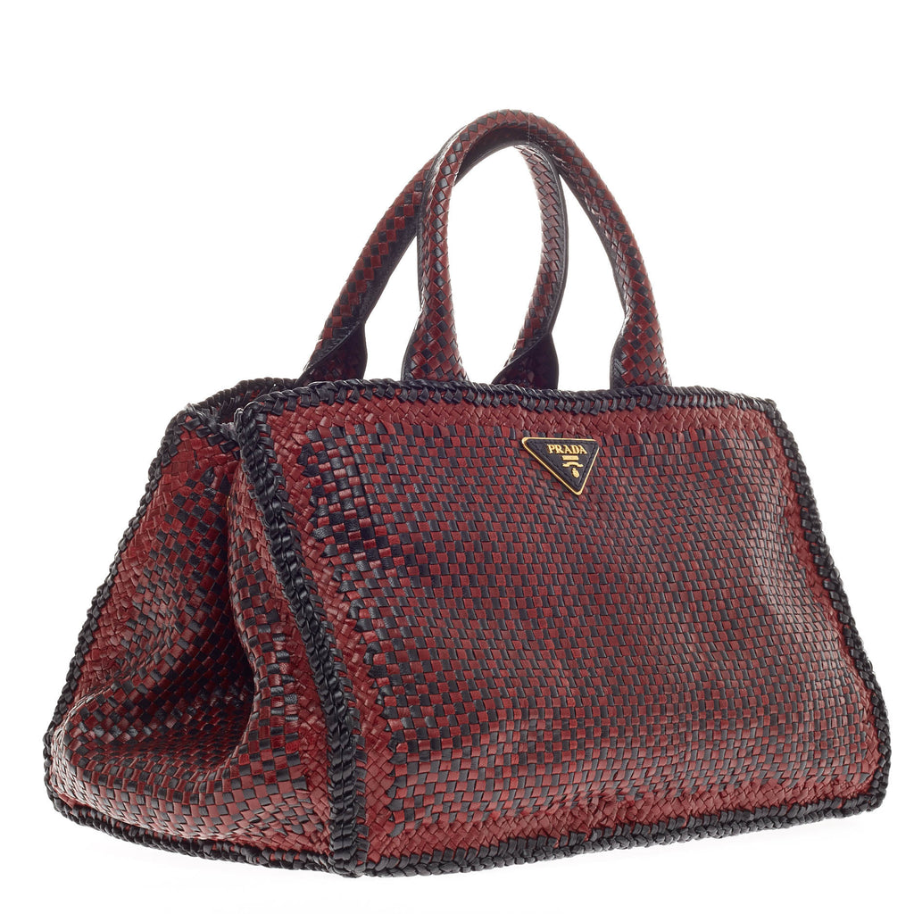 01c84651d07a Buy Prada Madras Tote Woven Leather Small Red 312303 – Rebag