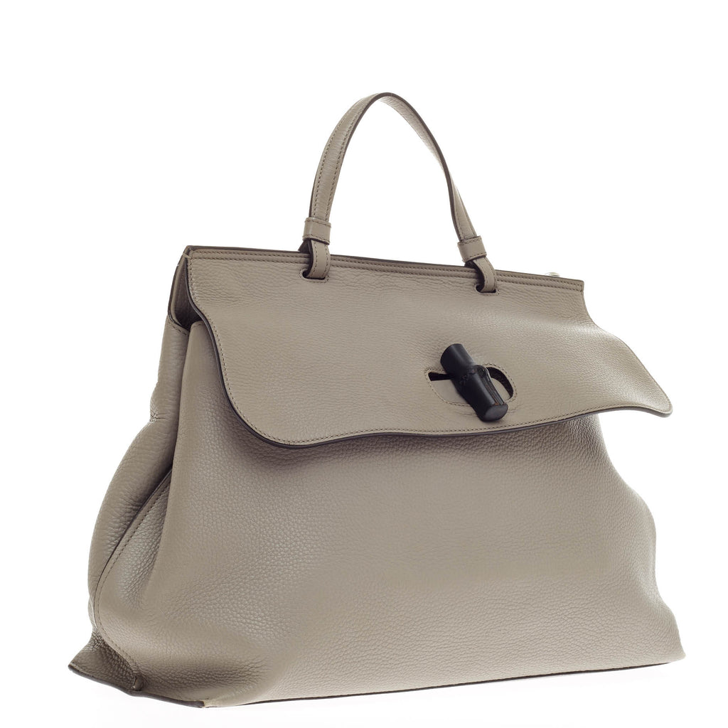 a6ec79c96cf5a Buy Gucci Bamboo Daily Top Handle Bag Leather Large Gray 324501 – Rebag