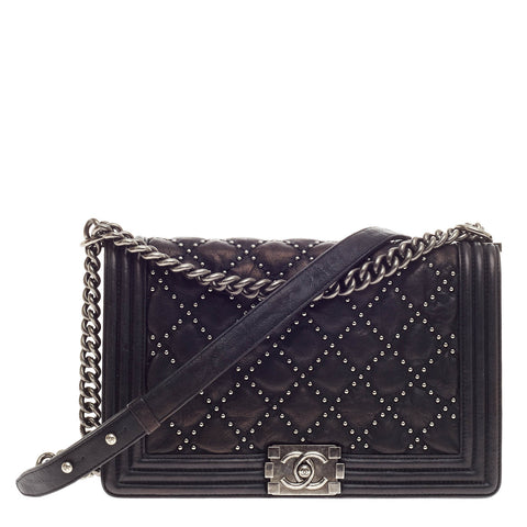 63fbc74ed48f85 Buy Chanel Boy Flap Bag Studded Quilted Distressed Calfskin 353606 – Rebag